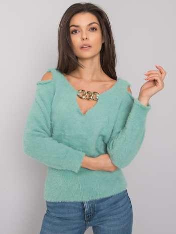 Zielony sweter z wycięciami Leandre RUE PARIS