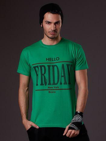 Zielony t-shirt męski HELLO FRIDAY