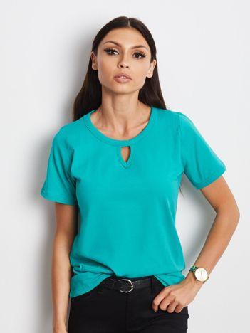 Zielony t-shirt z wycięciem łezką
