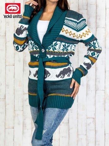 Zielony wzorzysty sweter na guziki