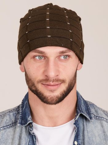 Zimowa męska czapka z dzianiny khaki