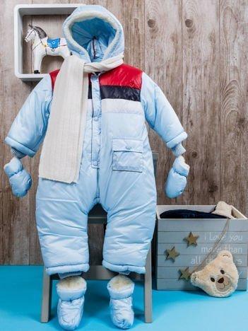Zimowy ocieplany kombinezon dziecięcy błękitny
