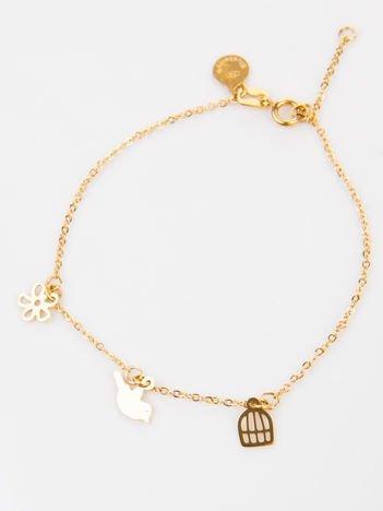 Złota bransoletka damska z zawieszkami wykonana z najwyższej jakości STALI CHIRURGICZNEJ 316L