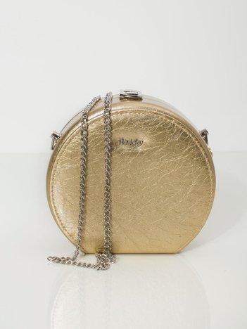 Złota okrągła torebka ze skóry