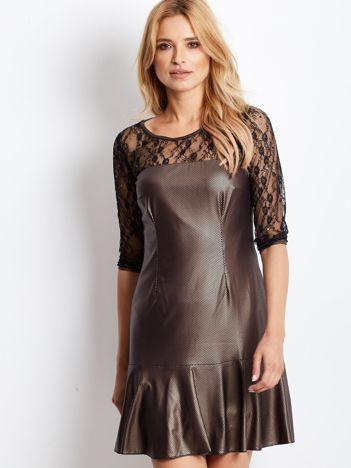 Złota sukienka wieczorowa z koronkowymi rękawami