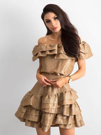 Złota sukienka z falbanami BY O LA LA