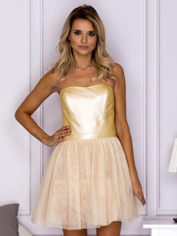 Złota sukienka z tiulową spódnicą