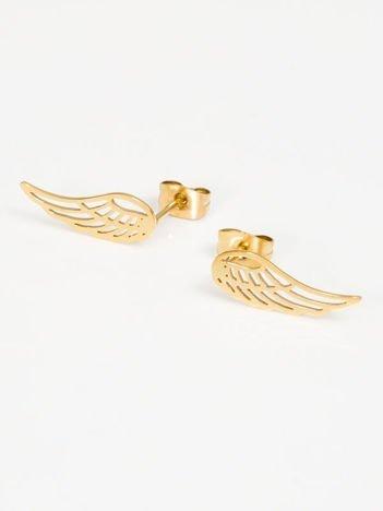 Złote SKRZYDŁA kolczyki wykonane ze STALI CHIRURGICZNEJ 316L