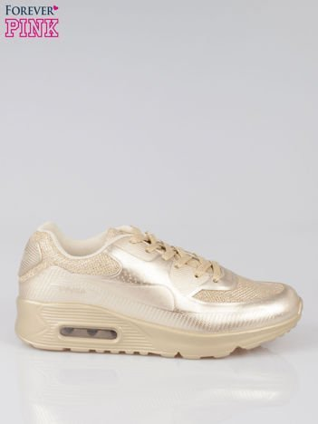 Złote buty sportowe faux leather Desire na podeszwie z poduszką powietrzną