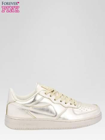 Złote buty sportowe faux leather Mousse na grubej podeszwie