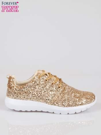 Złote buty sportowe textile Crummy z brokatowym efektem