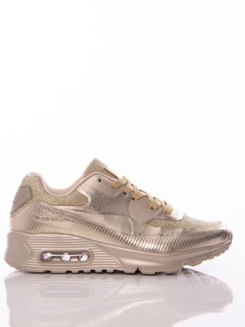 Złote buty sportowe z poduszką powietrzną i brokatową wstawką na przodzie