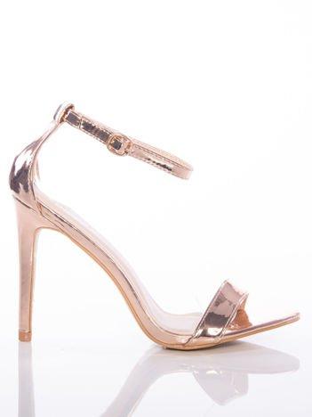 Złote sandały Vinceza na szpilkach zapinane w kostkach