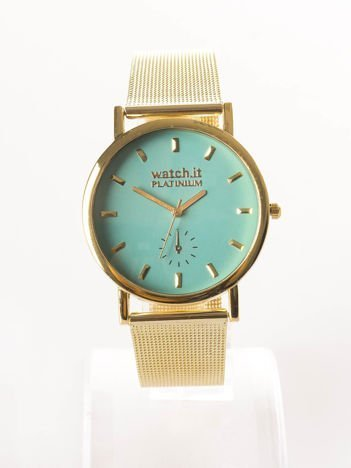Złoty zegarek damski na bransolecie z miętową tarczą