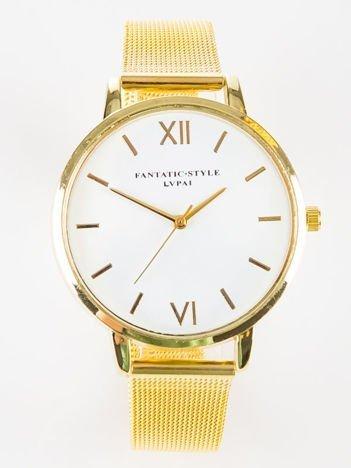 Złoty zegarek damski z bransoletą typu MESH