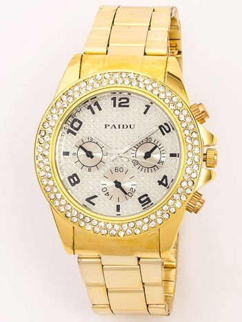 Złoty zegarek damski ze srebrna tarczą