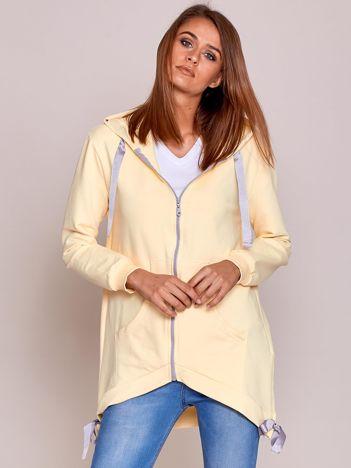 Żółta asymetryczna bluza na suwak