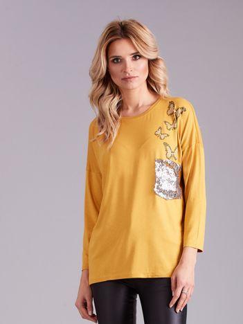 Żółta bluzka damska ze zdobieniem