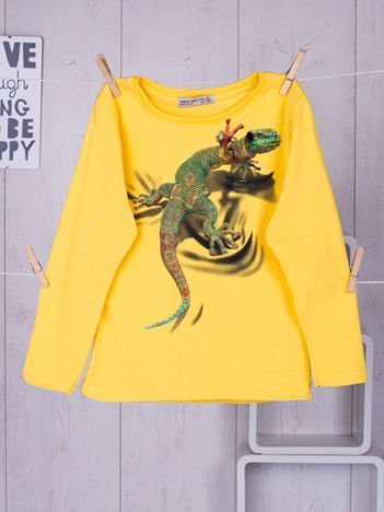 Żółta bluzka dziecięca z nadrukiem kolorowej jaszczurki