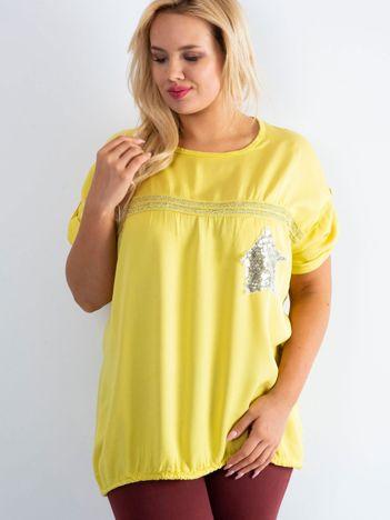 Żółta bluzka plus size z cekinami