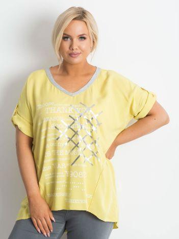 Żółta bluzka plus size z nadrukiem