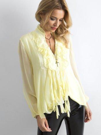 Żółta bluzka z żabotem