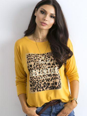 Żółta bluzka ze zwierzęcym nadrukiem