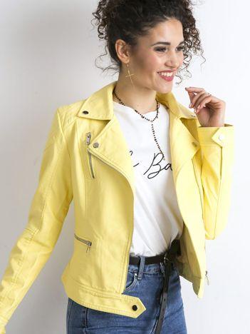 Żółta damska kurtka ramoneska