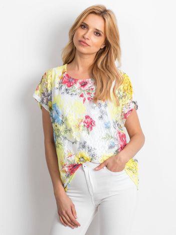Żółta koronkowa bluzka w kwiaty