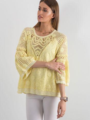 Żółta koronkowa bluzka z szerokimi rękawami