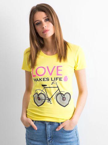 Żółta koszulka damska z nadrukami