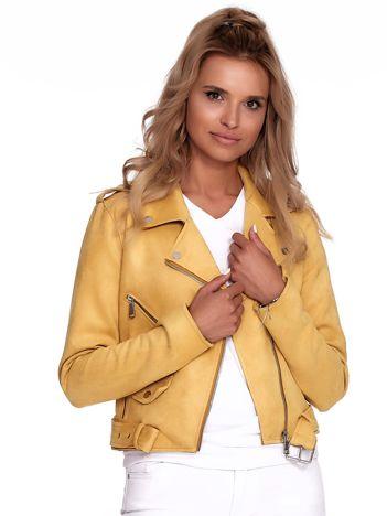 Żółta kurtka ramoneska z suwakami