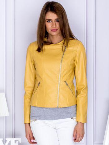 Żółta kurtka z ekoskóry
