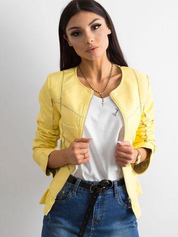 Żółta kurtka z falbanami