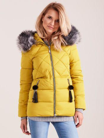 Żółta kurtka zimowa z futerkiem