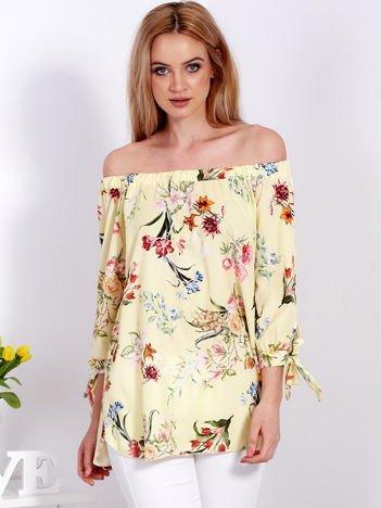 Żółta kwiatowa bluzka hiszpanka