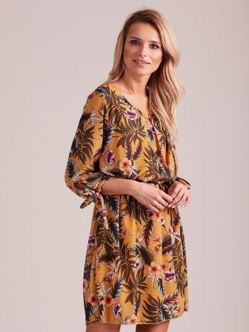 Żółta kwiatowa sukienka damska