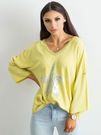 Żółta luźna bluzka z nadrukiem