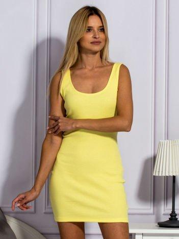 Żółta prążkowana sukienka