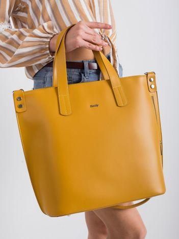 Żółta skórzana torba damska