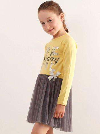 Żółta sukienka dla dziewczynki z tiulem