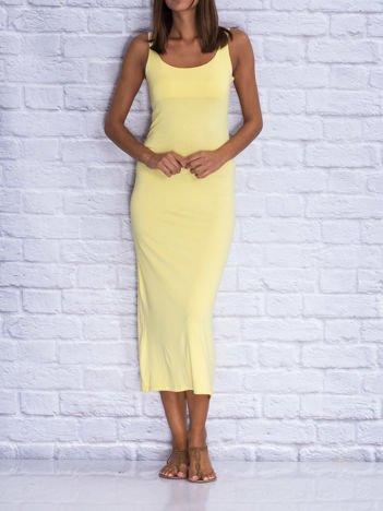 Żółta sukienka letnia maxi z wiązaniem