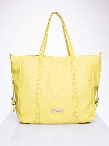 Żółta torba shopper z kolorowymi ćwiekami