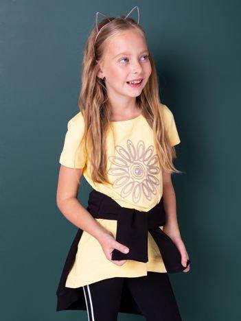 Żółta tunika dla dziewczynki z kwiatem