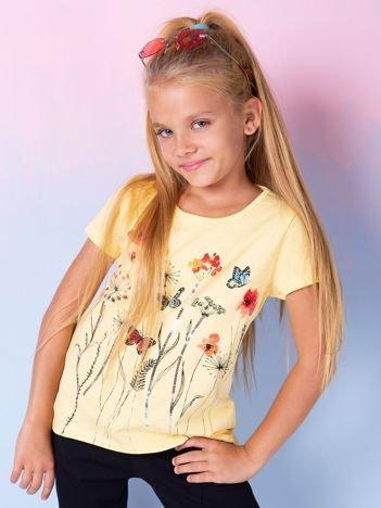 Żółta tunika dla dziewczynki z nadrukiem
