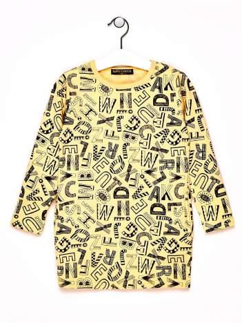 Żólta tunika dla dziewczynki z nadrukiem literek