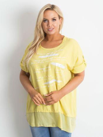 Żółta tunika plus size z nadrukiem