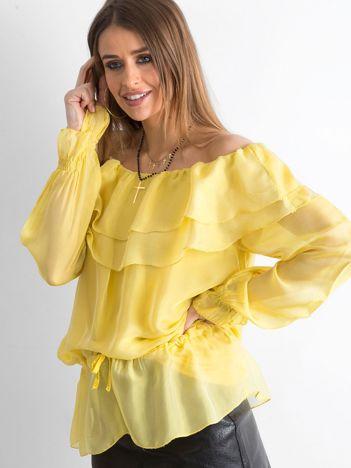 Żółta tunika z hiszpańskim dekoltem