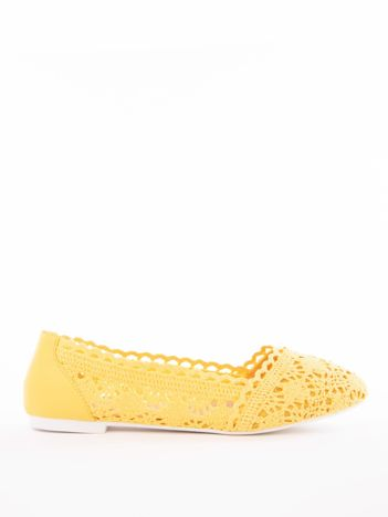 Żółte ażurowe baleriny Coura
