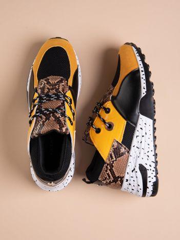Żółte buty sportowe z wstawką w wężowy print